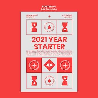 Modello di poster per la revisione e le tendenze del nuovo anno