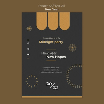 Poster template for new year's midnight party
