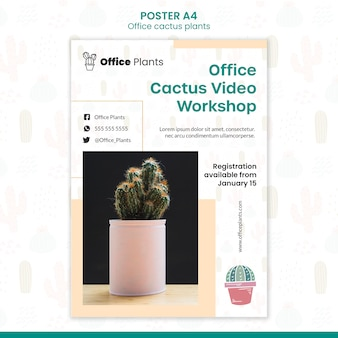 Poster template for office workspace plants