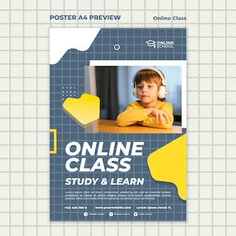 Poster template for online classes with child