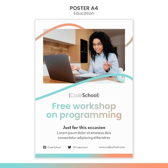 Poster template for online programming school