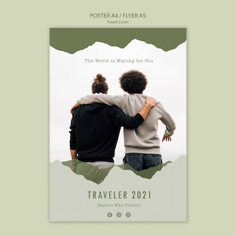 Poster template for outdoors traveling