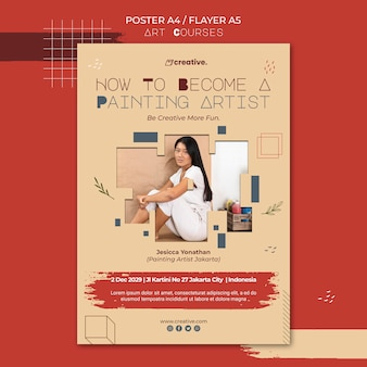 Modello di poster per lezioni di pittura