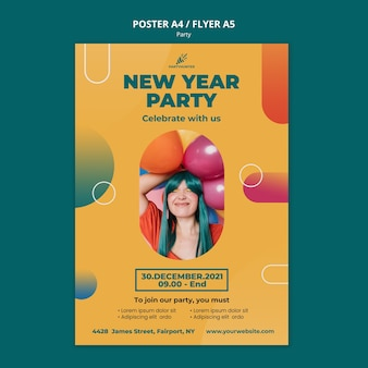 Poster template for party celebration with woman and balloons