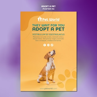 Poster template for pet adoption with dog