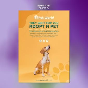 Modello del manifesto per adozione dell'animale domestico con il cane