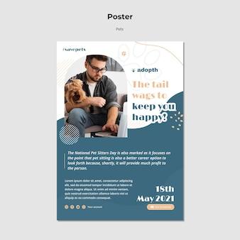 Modello di poster per l'adozione di animali domestici