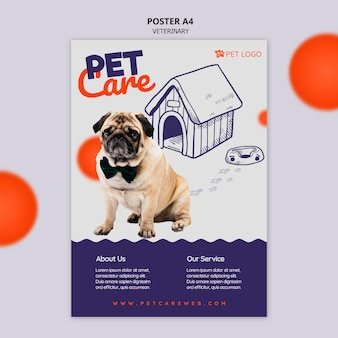 Modello del manifesto per la cura degli animali domestici con il cane che indossa un farfallino