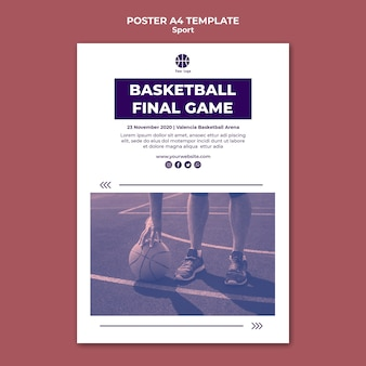 Poster template for playing basketball