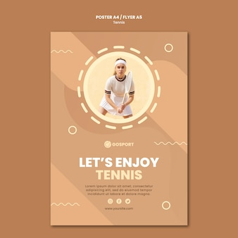Poster template for playing tennis