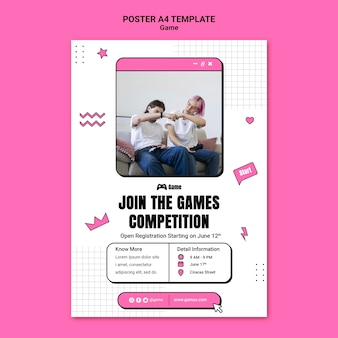 Poster template for playing video games