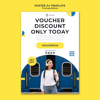 Poster template for public transportation by train with woman