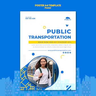Poster template for public transportation with female commuter