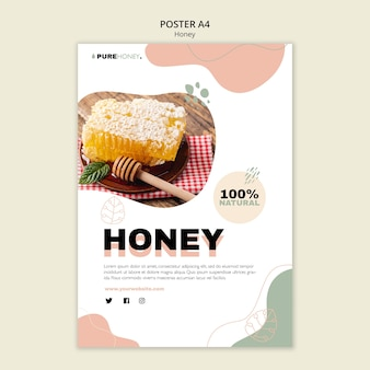 Poster template for pure honey
