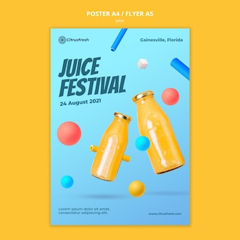 Poster template for refreshing orange juice in glass bottles