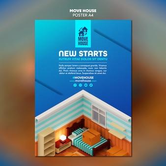 Modello di poster per i servizi di trasferimento di residenza