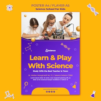 Poster template for science school for children