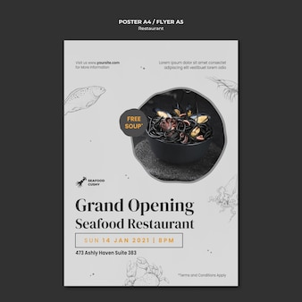 Poster template for seafood restaurant with mussels and noodles