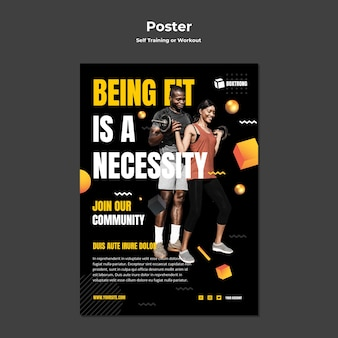 Poster template for self training and working out