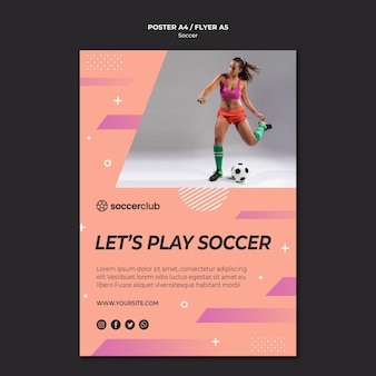 Poster template for soccer player