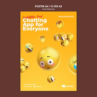 Poster template for social media chatting app with emojis