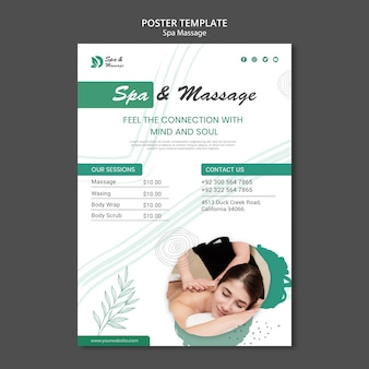 Poster template for spa massage with woman