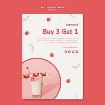 Poster template for strawberry milkshake
