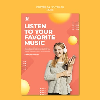 Poster template for streaming music online with woman wearing headphones