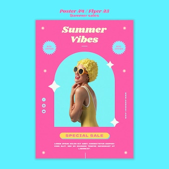 Poster template for summer sale