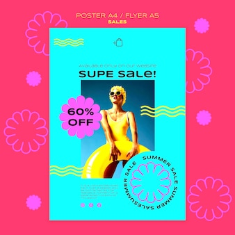 Modello di poster per la vendita della stagione estiva