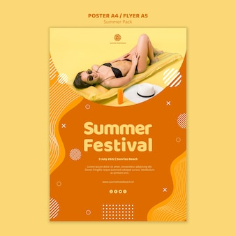 Poster templatefor summer vacation