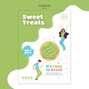 Poster template for sweet baked donuts