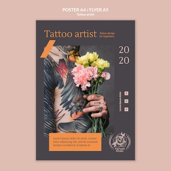 Poster template for tattoo artist
