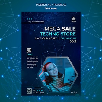 Poster template for techno store