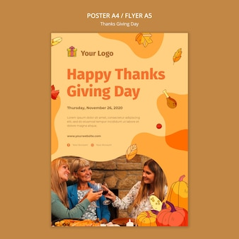 Poster template for thanksgiving celebration