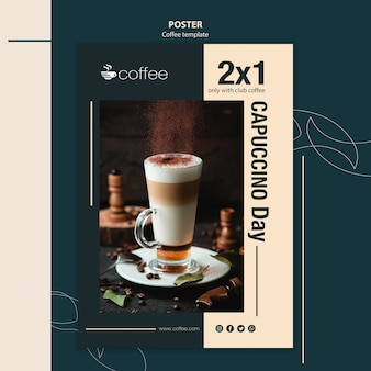 Poster template theme with coffee