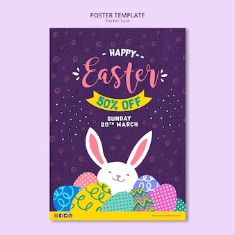 Poster template theme with easter sales
