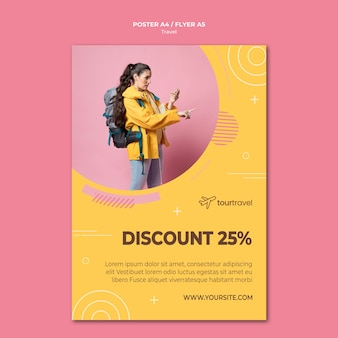 Poster template for traveling with discount