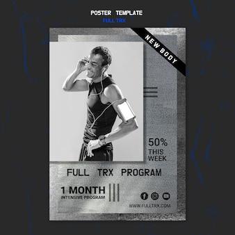 Modello di poster per allenamento trx con atleta maschio