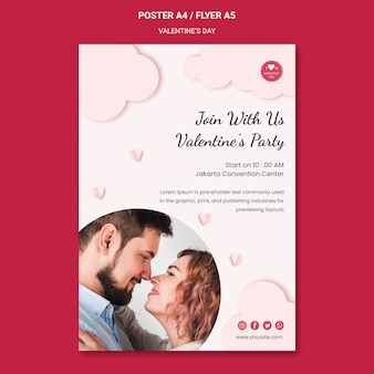 Poster template for valentine's day with couple in love