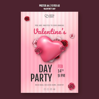 Poster template for valentine's day with heart and red roses