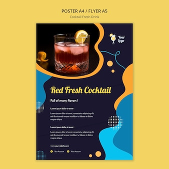 Poster template for variety of cocktails