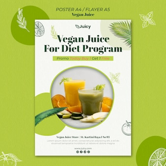 Poster template for vegan juice delivery company