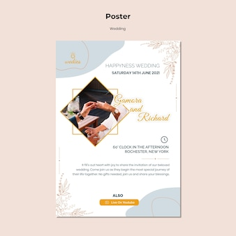 Poster template for wedding ceremony with bride and groom