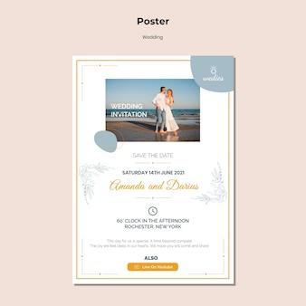 Modello di poster per la cerimonia di matrimonio con la sposa e lo sposo