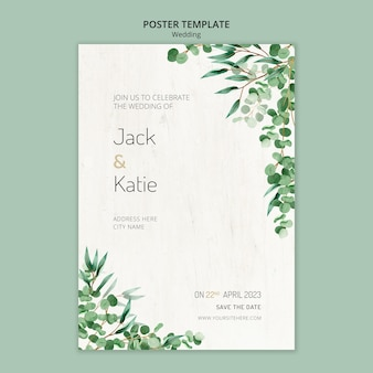 Poster template for wedding with leaves