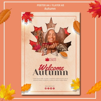 Poster template for welcoming autumn season