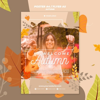 Poster template for welcoming the autumnal season