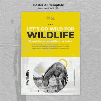 Modello di poster per la protezione della fauna selvatica e dell'ambiente