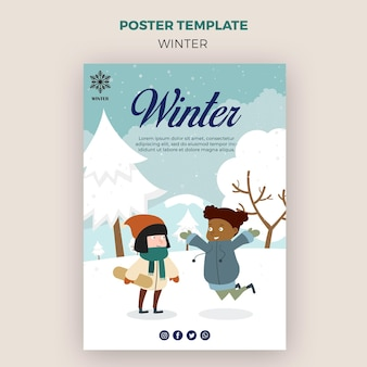 Poster template for winder with children having fun